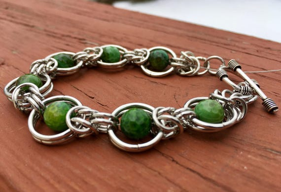 Green Faceted Agate Chainmaille Bracelet