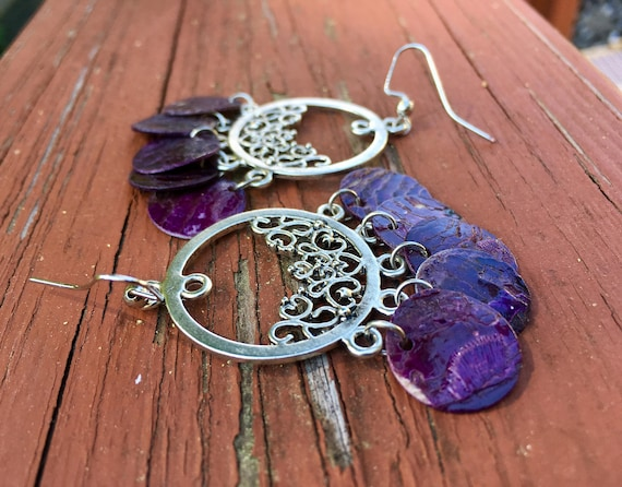 "Purple ""Simply Chandelier"" Mussel Shell Earrings"