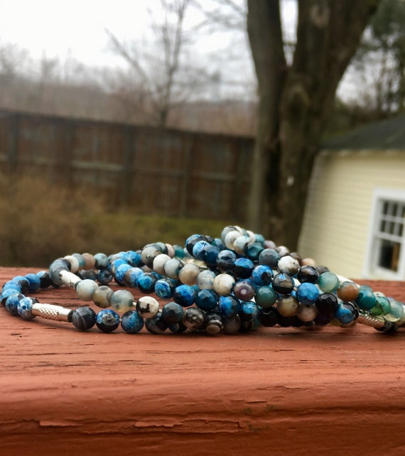 Dark & Light Blue Faceted Agate Beaded Stack Bangles
