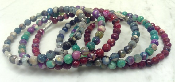 Blue, Green, Purple & Red Faceted Agate Beaded Bracelets