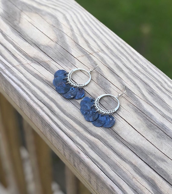 Dark Blue Mussel Shell Chandelier Earrings