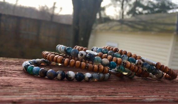 Blue Agate & Wood Beaded Stack Bangles