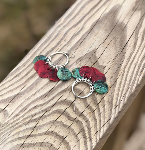 Dark Red & Teal Mussel Shell Chandelier Earrings