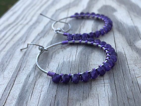 Wire Wrapped Purple Faceted Chandelier Earrings