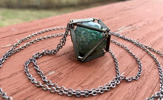 Blue Dragon Veins Caged In Antique Brass Necklace