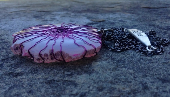 Pink Geode Agate Silver Wire Wrapped Slice Necklace