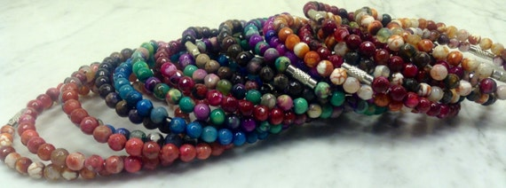 Multicolor Faceted Agate Beaded Bracelets