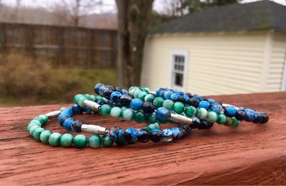 Dark Blue & Green Faceted Agate Beaded Stack Bangles