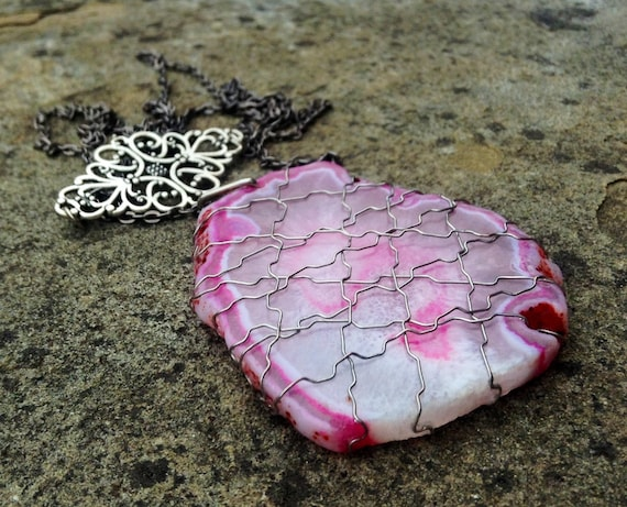 Pink Agate Silver Wire Wrapped Slice Necklace