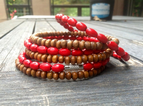 Red & Brown Wood Beaded Stack Bangles