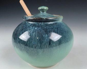 Honey Pot - Free Shipping - Stoneware Honey Pot - Ceramic Honey Pot - Green Glaze -  Honey Jar - Handmade Honey Pot - Pot for Honey