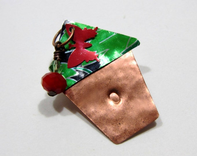 Bird House Brooch Pin Handmade from Recycle Copper and Recycled Soda Can, Pearl and Ruby Quartz
