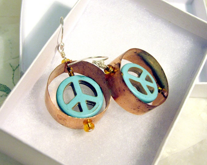 Copper Hoop Earrings with Turquoise Peace Sign - Recycled Copper Peace Sign Hoops Boho Chic Style