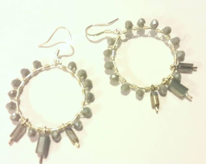 Hoop Earrings -- Gray Crystals -- Beaded Hoop Earrings -- Large Hoops -- Boho Chic Hoops -- Hoop Earrings Silver --