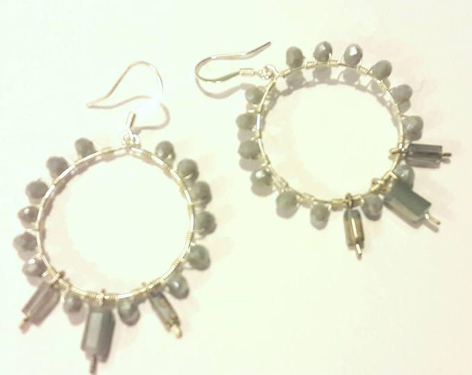 Sparkly Gray Crystal Beaded Hoop Earrings -- Large Silver Boho Chic Hoops