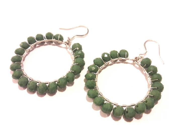 Sage Green Large Hoops Earrings, Handmade Silver Wire Wrapped Green Crystal Earrings