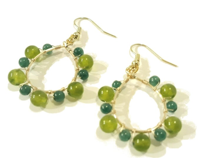 Green Gemstone Hoop Earrings on Gold Teardrop Hoops, Boho Dangle Earrings with Indian Jade