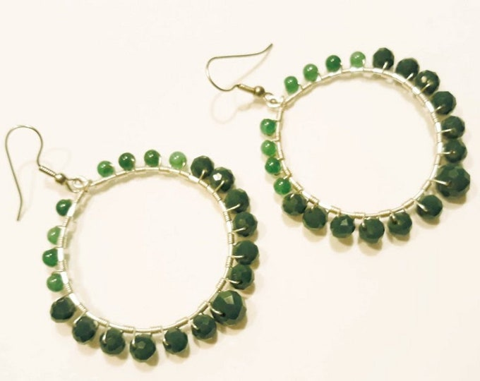 Big Hoop Earrings in Sage Green Ombre Shades with Beautiful Agates and Crystals