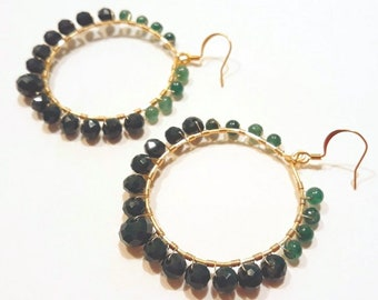 Large Hoop Earrings with Emerald Green Beads and Gold Wire for Boho Chic Style