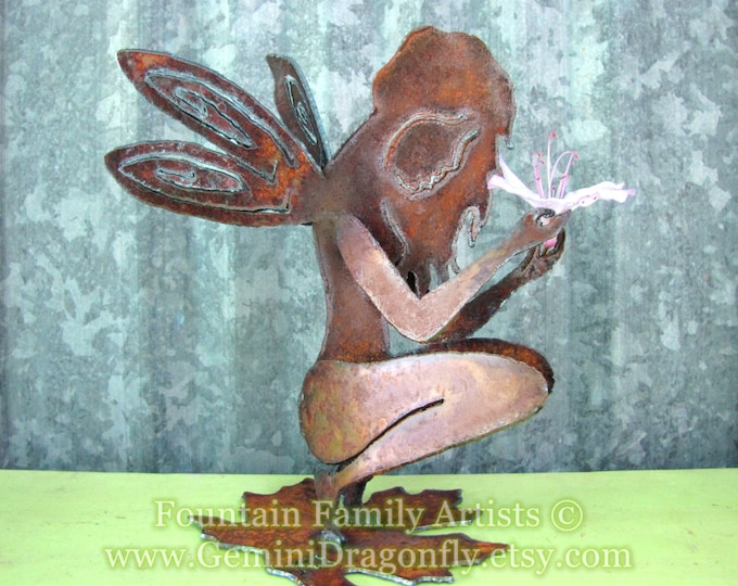 Rusty Garden Fairy Recycled Metal Garden Art or Nursery Decor