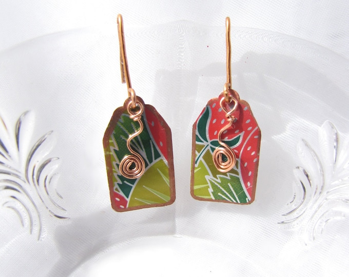 Tropical Margarita Earrings Handmade from Recycled Copper and Soda Cans