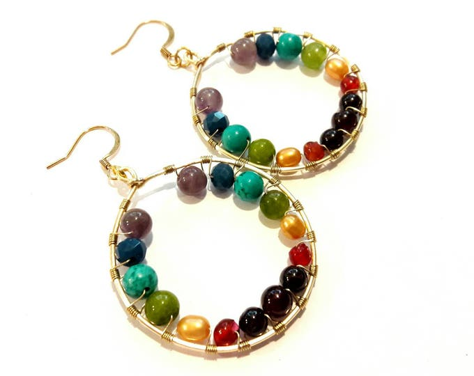 Colorful Gemstone Hoops in Chakra Colors -- Rainbow Hoop Earrings -- Yoga Earrings -- Spiritual Boho Hoops, Modern Hippie Style Earrings