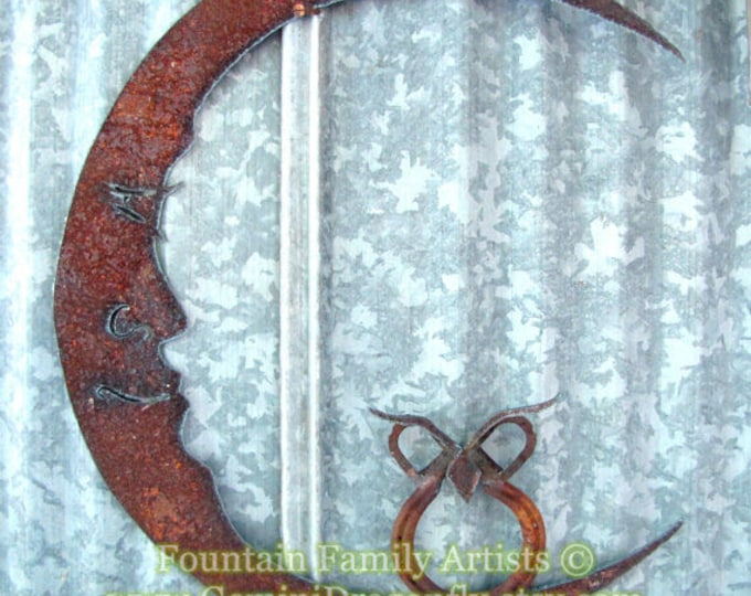 Rusty Metal Butterfly on Moon/ Recycled Garden Art/ Lucky Horseshoe/ Wall Art