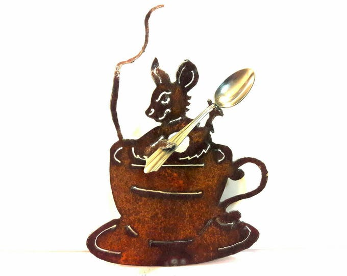 Mouse in Tea Cup Garden Art, Tea Party Mouse, Rusty Metal Mouse, Tea Cup Decor Recycled Art, Eco Friendly Gift for Gardener