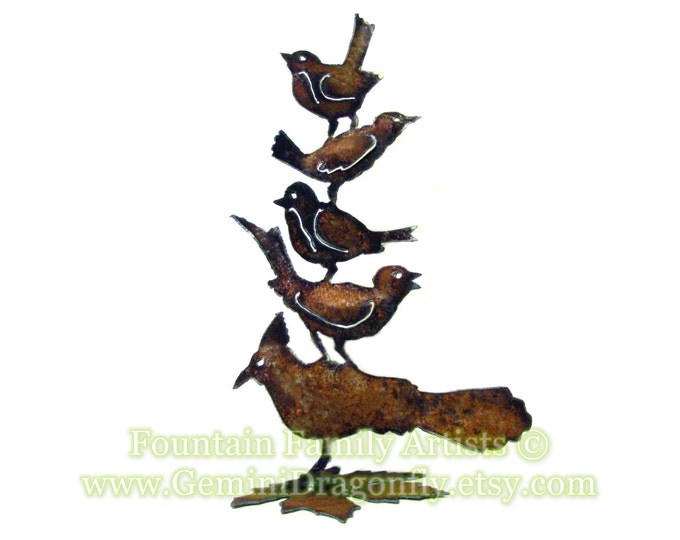 Embrace Diversity Birds Garden Art Nursery Decor Recycled Metal