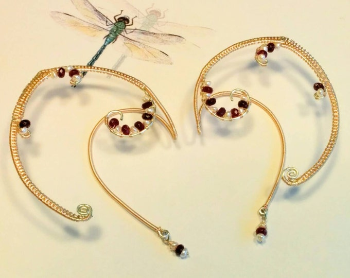 Ear Cuffs with Garnets and Pearls -- Gold Ear Cuffs -- Elf Ears -- Gold Fairy Ears -- Emma Watson Style -- Beauty and the Beast Style Cuffs