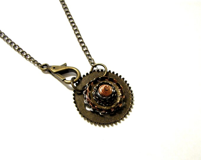 Steampunk Necklace, Gears and Cogs Necklace, Handmade Industrial Necklace, Lobster Claw Necklace, Unisex Necklace, Steam Punk Pendant