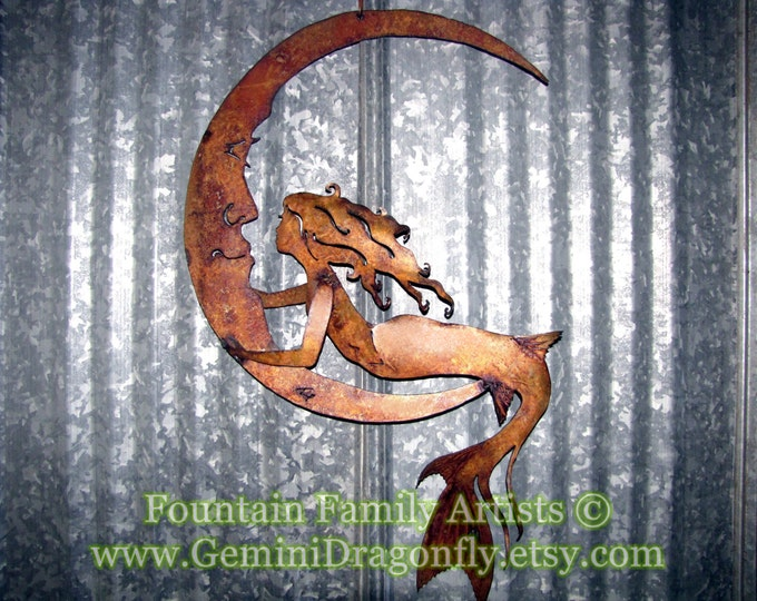 Mermaid on Crescent Moon, Rusty Mermaid Moon Garden Art, Recycled Metal
