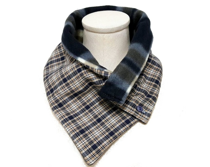 Blue and Brown Plaid Neck Warmer with Cotton Shirting and Fleece Lining, Unisex Scarf Eco Friendly Gift