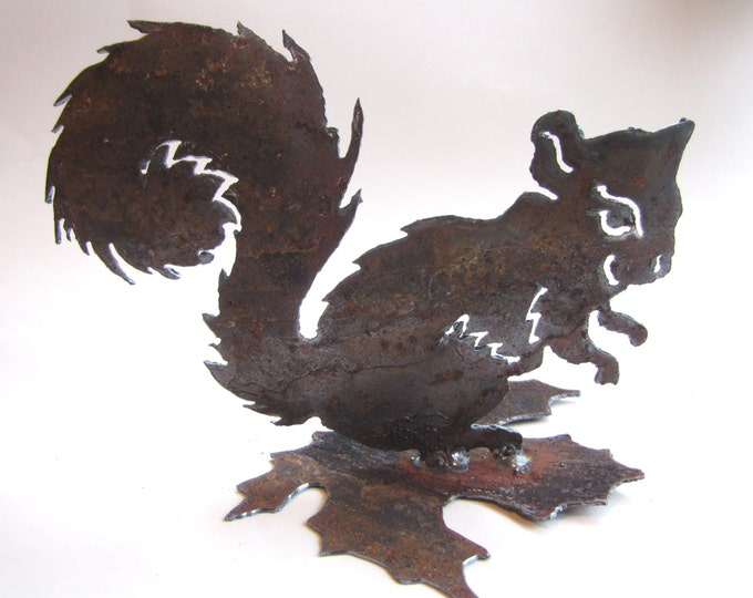Squirrel from Rusted Metal, Gift for Gardener, Patio Decor