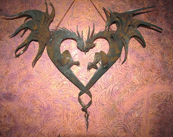 Metal Dragons, Heart Shaped Dragon Garden Art, Rusty Recycled Metal Romance Dragons by Fountain Family Artists