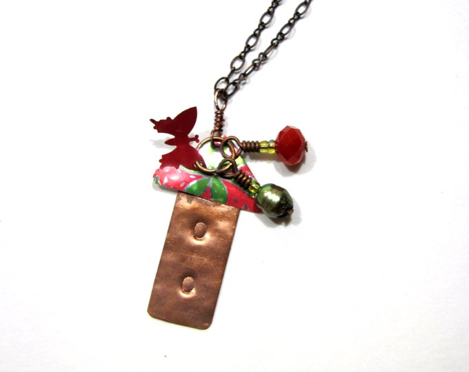 Handmade Birdhouse Necklace with Charms from Recycled Copper and Soda Cans