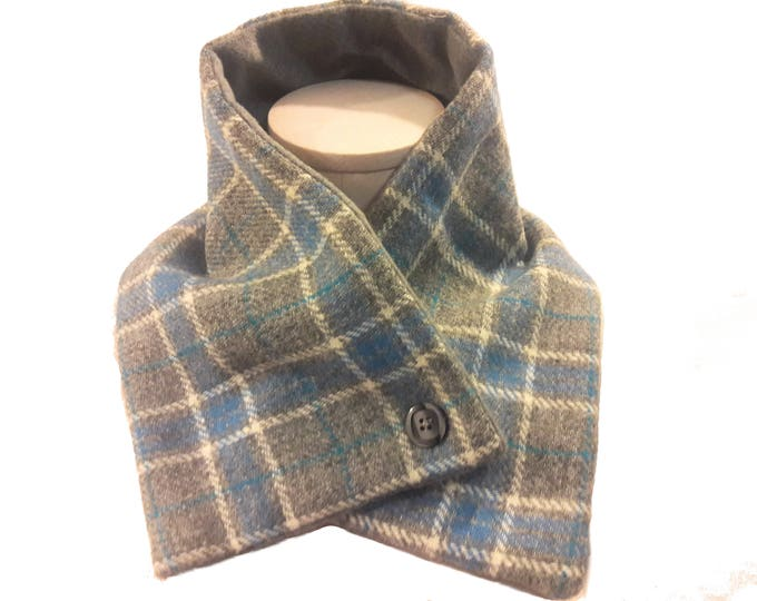 Neck Warmer Crossover Scarf in Gray and Blue Tartan Plaid Wool Fleece Lined, Men's Scarf, Unisex Scarf