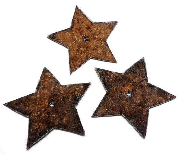 Rustic Stars Set of 3, Stars Garden Art from Recycled Metal, Rusty Stars Wall Art