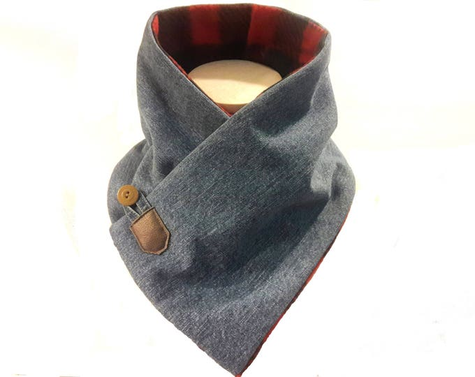 Unisex Neck Warmer in Denim and Buffalo Plaid Fleece -- Neck Wrap for Men -- Neck Wrap for Women -- Fleece Lined Neck Warmer