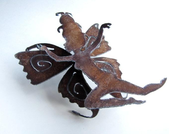 Leaping Garden Fairy from Recycled Rusty Metal, Garden Art or Nursery Decor