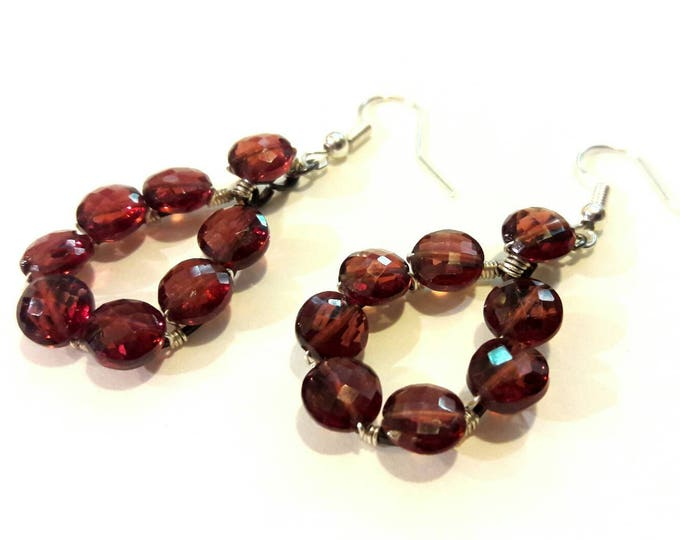 Sparkly Genuine Garnet Earrings, Very Vintage Collection, January Birthstone Gift