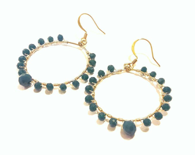 Turquoise Blue Hoop Earrings with Gold Wire Wrap, Sophisticated Sparkling Evening Wear, Wedding Earrings
