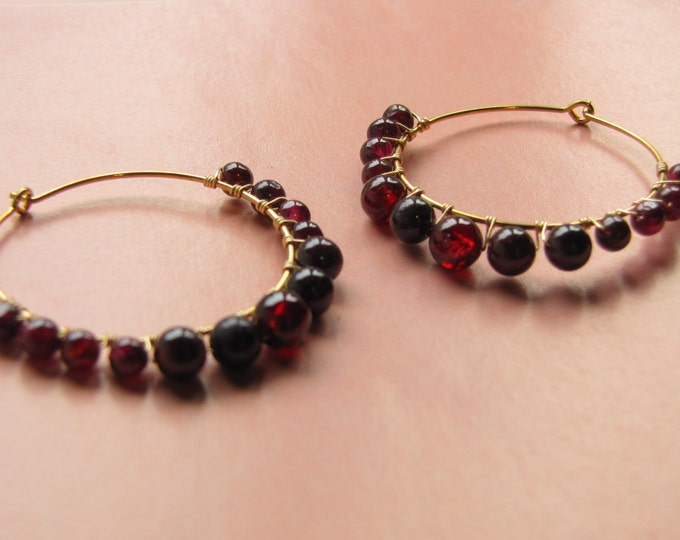 Garnet Hoop Earrings in Gold -- Large Red Hoops -- Wire Wrap Hoop Earrings -- Gemstone Hoops -- January Birthstone Earrings