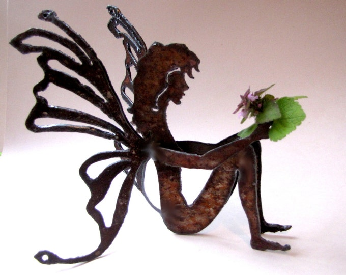 Gift Garden Fairy Recycled Metal Garden Art or Home Decor