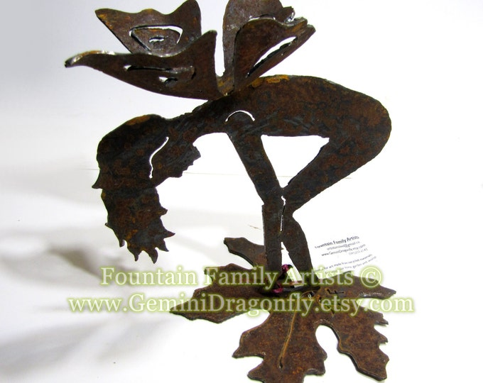 Rusty Garden Fairy on Leaf, Bottoms Up Recycled Metal Garden Art, Nursery Decor