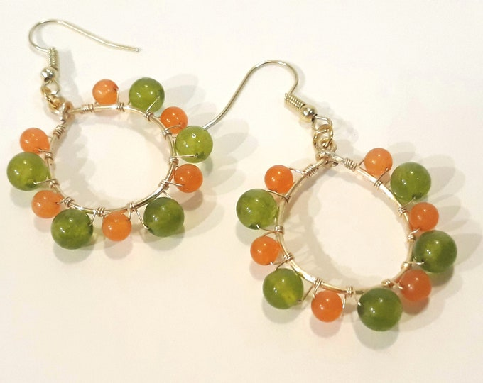 Green and Orange Teardrop Earrings on Gold Hoops, Dangle Hoop Boho Earrings, Medium Hoops
