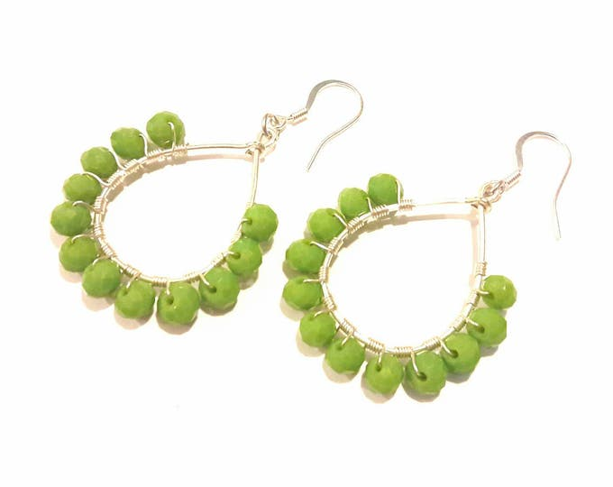 Teardrop Hoop Earrings with Green Apple Beads and Silver Wire Wrap
