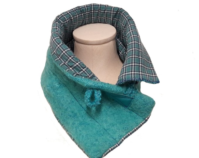 Turquoise Blue Neck Warmer with Felted Wool and Blue Plaid Shirting, Turquoise and Cobalt Blue Crossover Scarf from Upcycled Fabric