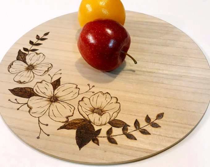 Wooden Charger with Dogwood Blossoms, Table Centerpiece Decor with Bouquet, Wood Burned Art