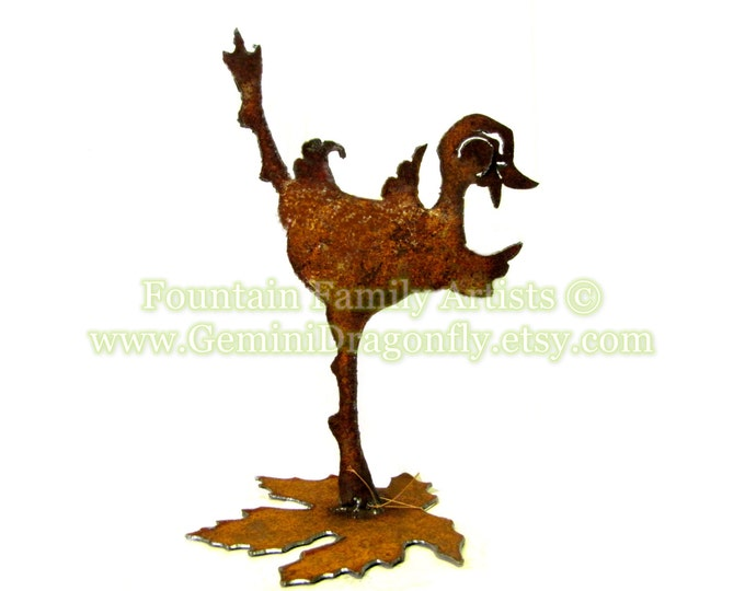 Dancing Duck Garden Art Home Decor from Recycled Metal Handmade